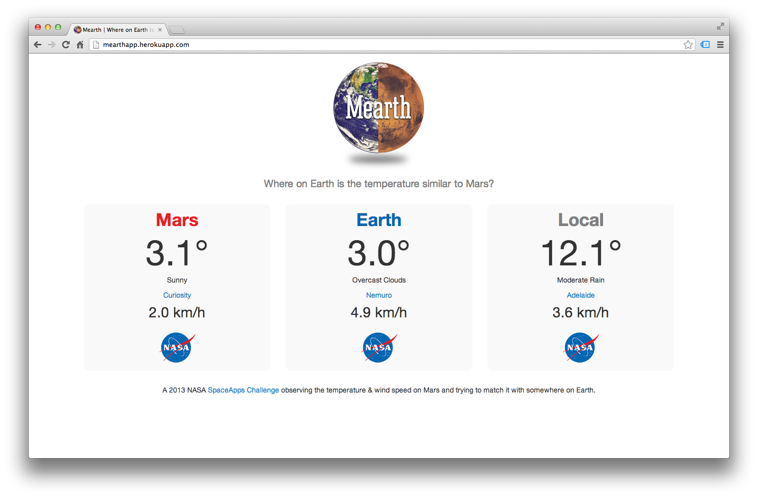 Mearth prototype app