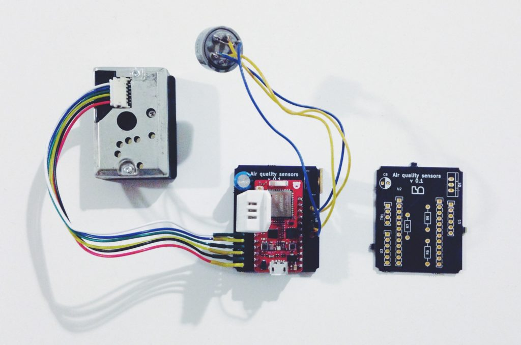 Arduino Bluetooth air quality sensors - inside the 3D printed case lives our PCB.