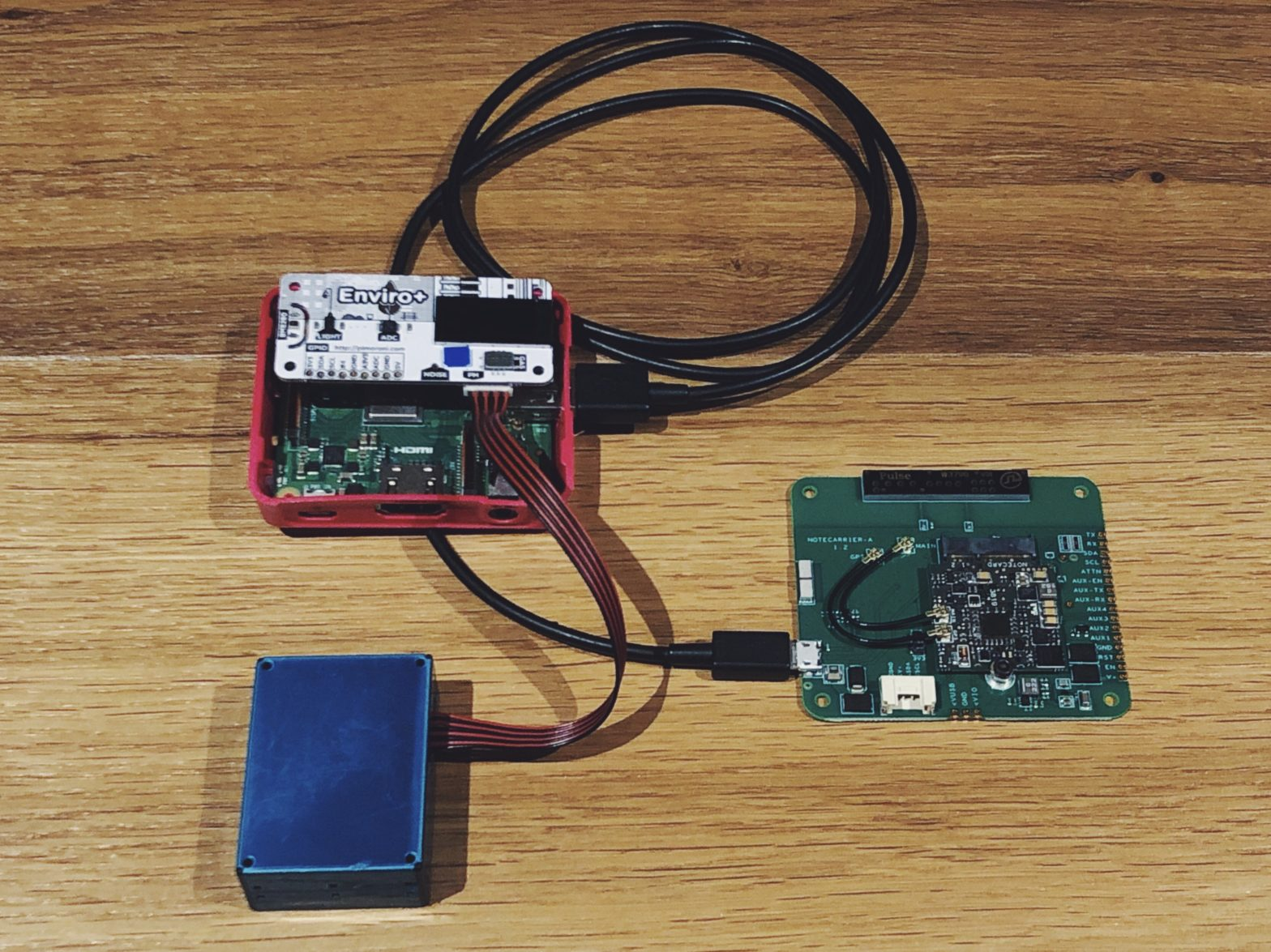 The Notecard connected to the Raspberry Pi A+ with an Enviro+ sensor hat